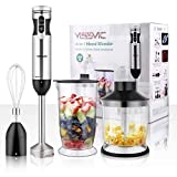 YISSVIC Hand Blender 1000W 700ml Immersion Blender 9 Speed Control, 4 In 1