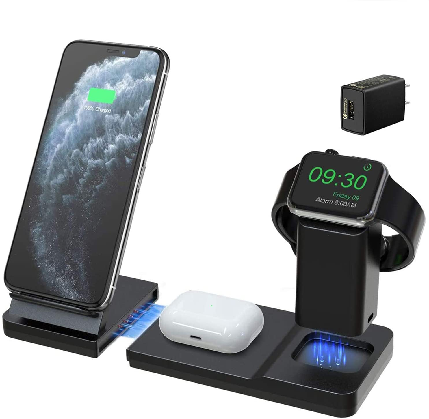 Hoidokly Wireless Charger 7.5W Qi Fast 3 in 1 Charging Station