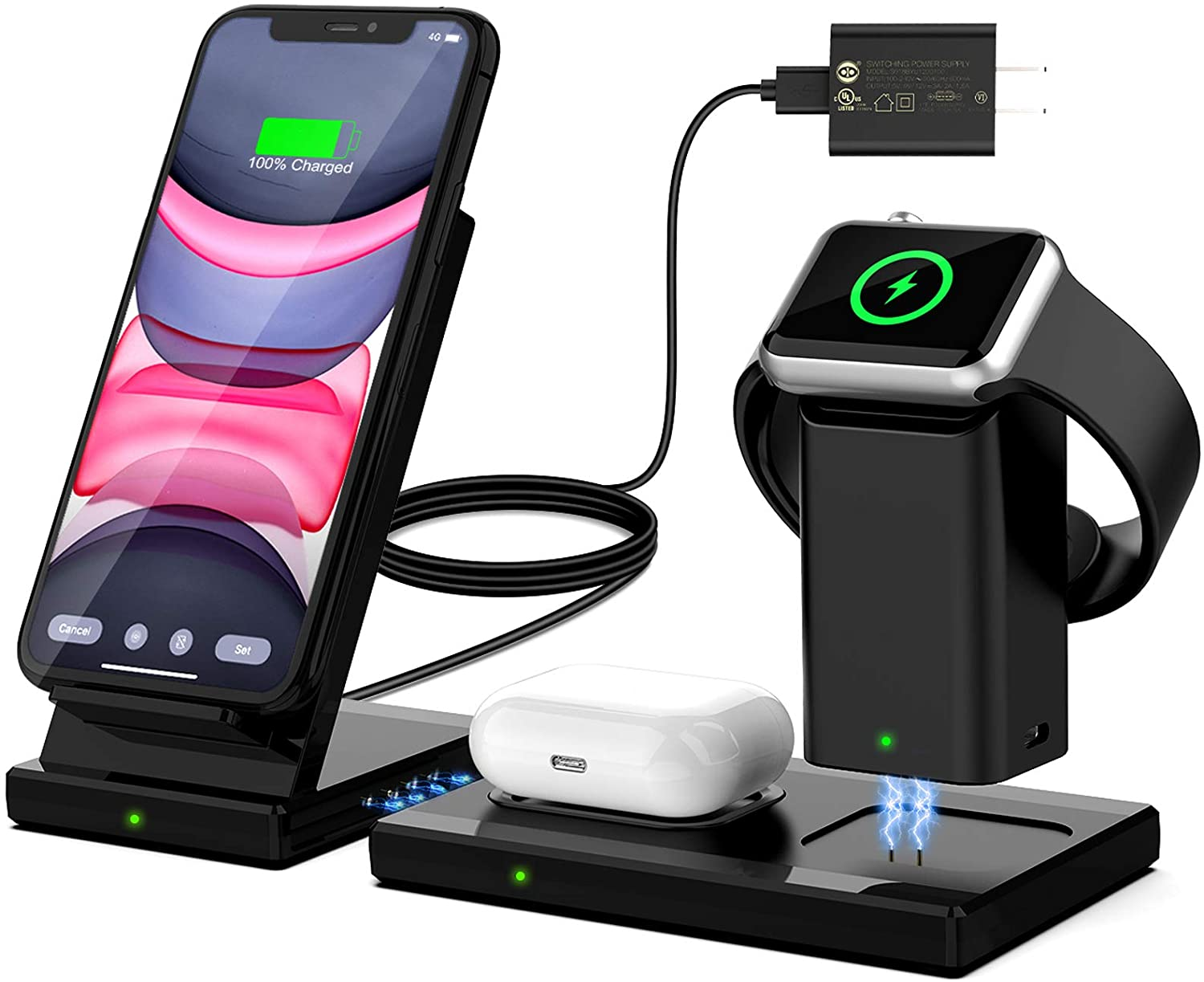 WisFox 3 in 1 Qi-Certified Wireless Charging Station